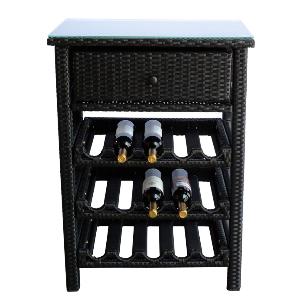 Wine bar wicker rack 15 bottle holder liquor shelves for Display home furniture