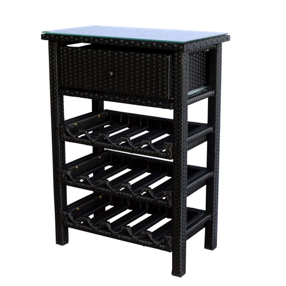 Wine Bar Wicker Rack 15 Bottle Holder Liquor Shelves Buffet Cabinet Home  Decor Furniture Display Kitchen Storage Glass Top