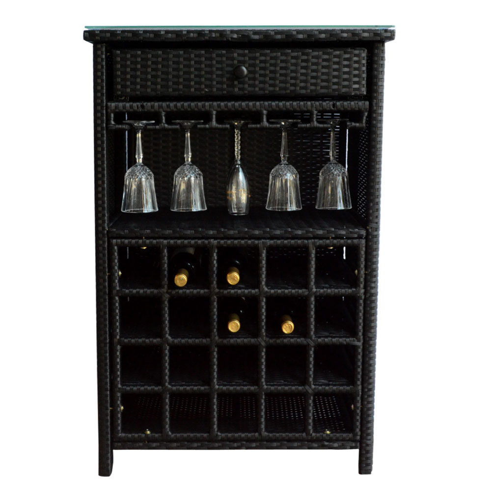 Wine Bar Wicker Storage 20 Bottle Holder Glass Hanger Stemware Rack Liquor Shelves Buffet