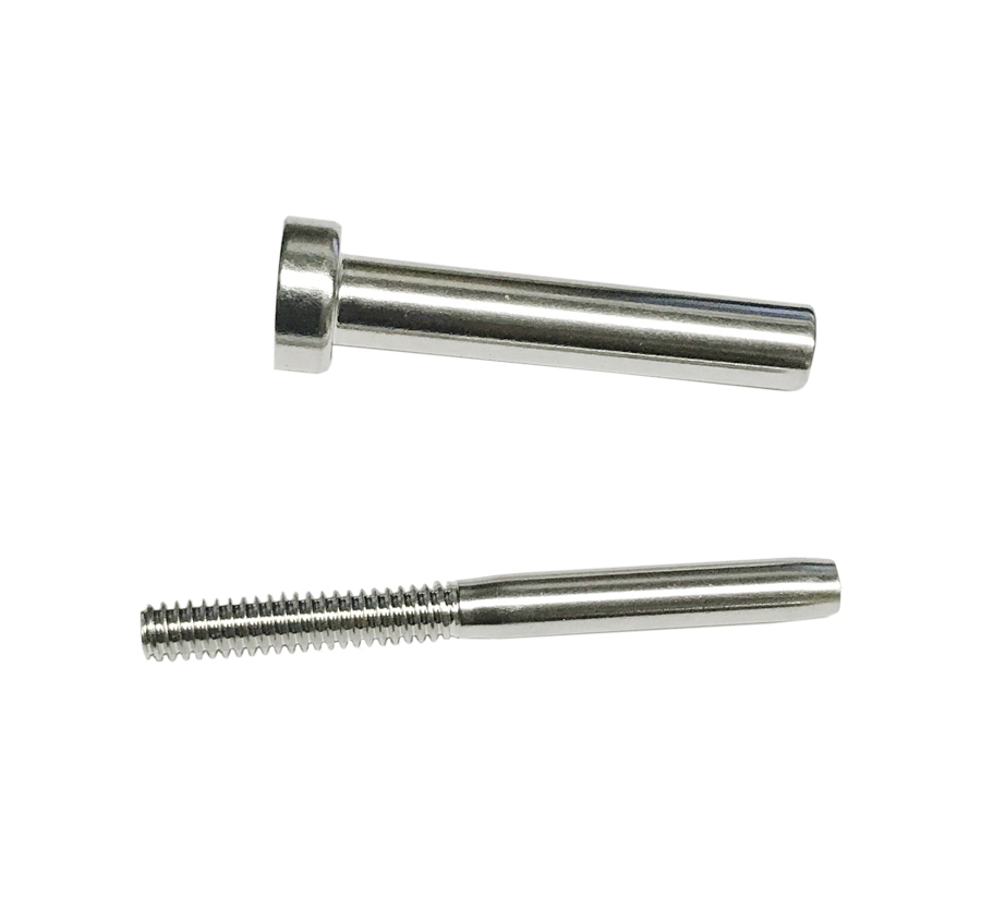 Set stainless steel invisible receiver swage stud end