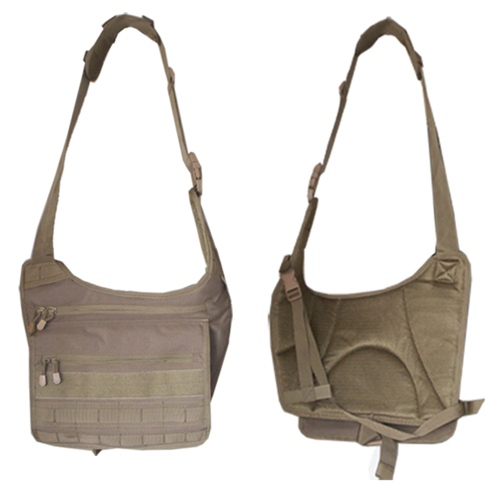 Molle Tactical Messenger Shoulder Sling Carrying Bag Tan