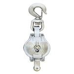 10'' DOUBLE Sheave Galvanized Steel Block HOOK Wire Rope Pulley Rigging Snatch