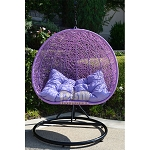 2 Persons Seater Bird Egg Nest Wicker Rattan Swing Lounge Chair Hanging Hammock In or Out Door Patio Porch - BLACK LAVENDER