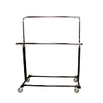 Adjustable Double Parrallel Bar Retail Rack Clothes Hanger w/ Swivel Wheels Lock