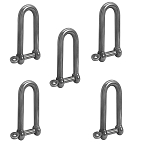 5 Pc 3/8'' Captive Pin Long D Shackle Stainless Steel For Boat Marine 1,000 Lbs