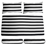 1 SET Porch Swing Bench Cushion SEAT COVERS Black White Stripe Bolster Pillows Fabric