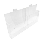 Brochure Holder 18 x 2-1/4 Double Lucite Acrylic Gridwall Magazine Literature Holder