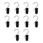 10 Pcs Laundry Hooks Clips Clothes Pin Plastic Retail Display-BLACK