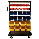 60 Removable Bin Racks Cabinet Parts Accessories Storage Organizer Rack w/ Wheels