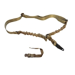Tactical Adder Double Bungee One Point Sling HK Snap Hook & Strap - Tan