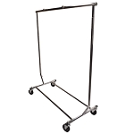 Single Bar Adjustable Clothes Rack Garmen Display Clothes Hanger Retail w Wheels