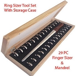 Metal Ring Mandrel & Ring Sizer Gauge Set 30 PC