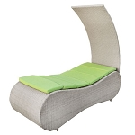 GRAY SUNBED Wicker Rattan Outdoor Tanning Lounge Bed Patio Pool Lounge Shade Chair - LIME Cushion