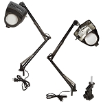 BLACK Clamp On Table Swimg Arm Lighted Magnifier Magnifying Lamp 3 Diopter Lamp
