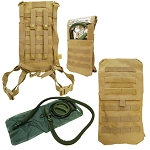 Tan Molle Tactical Oasis Hydration Backpack Pack Water Bladder Carrier Holder
