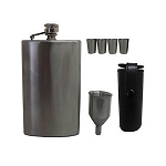 Stainless Steel HIP FLASK w/ 4 Shot Glasses Cups 7 Oz