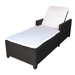 BLACK - 1 Person SUNBED Wicker Rattan Outdoor Patio Pool Lounge Chair Bed - KHAKI Cushion