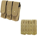 TAN - MOLLE 7.62mm 5.56mm TRIPLE Mag Pouch Magazine Close Flap Pouch Pals