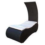 BLACK Tanning Lounge Bed SUNBED Wicker Chair Rattan Outdoor Patio Pool  Shade Chair- KHAKI Cushion
