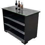 Black Color Wicker Rattan Bar Buffet Serving Table