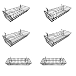 6 Pc Metal Wire Black Slatwall Gridwall Pegboard Large Double Sloping Basket Rack Fixture