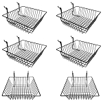 6 Pc Metal Wire Black Slatwall Gridwall Pegboard Small Double Sloping Basket Rack Fixture