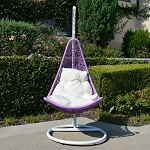 White Lavender Khaki Egg Shape Wicker Rattan Swing Lounge Chair Weaved Hammock