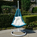White Turquoise Egg Shape Wicker Rattan Swing Lounge Chair Weaved Hammock