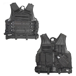 Tactical Cross-Draw Vest Pistol Holster Magazine Pouch w/ Belt - Black