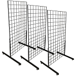 3 GLOSS BLACK Gridwall Panel 4 Ft Tall Wire Grid Shelving Board T-Leg Retail Display Fixture