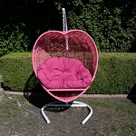 Pink Heart Shape Wicker Rattan Swing Chair Hanging Hammock