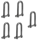 5 Pc 5/16'' Captive Pin Long D Shackle Stainless Steel For Boat Marine 500 Lbs