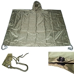 Military USMC Style All Weather Poncho Rain Coat - OD Green
