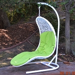 Enclave Lounge Swing Bed Chair Weaved Wicker Rattan Hammock In or Out Door Patio Porch White / Lime