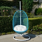 Wicker Rattan Swing Bed Chair Weaved Egg Shape Hanging Hammock In or Out Door Patio Porch - White Turquoise Khaki