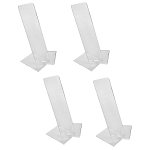 Clear Acrylic Vertical Single Shoe Display Stand Set Of 4 Pc With Heels Slant Riser Holder