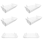 6 Pc Metal Wire White Slatwall Gridwall Pegboard Large Double Sloping Basket Rack Fixture