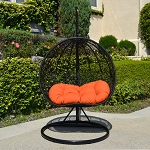 2 Persons Seater Bird Egg Nest Wicker Rattan Swing Lounge Chair Hanging Hammock In or Out Door Patio Porch - Black / Orange