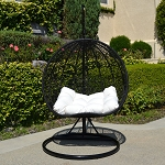2 Persons Seater Bird Egg Nest Wicker Rattan Swing Lounge Chair Hanging Hammock In or Out Door Patio Porch - Black / Khaki