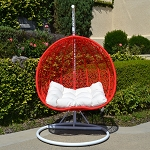 White Red 2 Persons Seater Bird Nest Wicker Rattan Swing Lounge Chair Hammock
