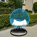 Turquoise Black Stand 2 Persons Seater Bird Nest Wicker Rattan Swing Lounge Chair Hammock