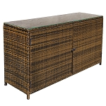 59 x 18 Wicker Serving Buffet Table Counter Pool Towels Cabinet Storage Espresso