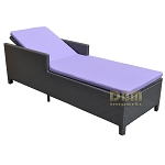 SILVER - 1 Person SUNBED Wicker Rattan Outdoor Patio Pool Chaise Lounge Chair Bed - Khaki & Lavender Cover
