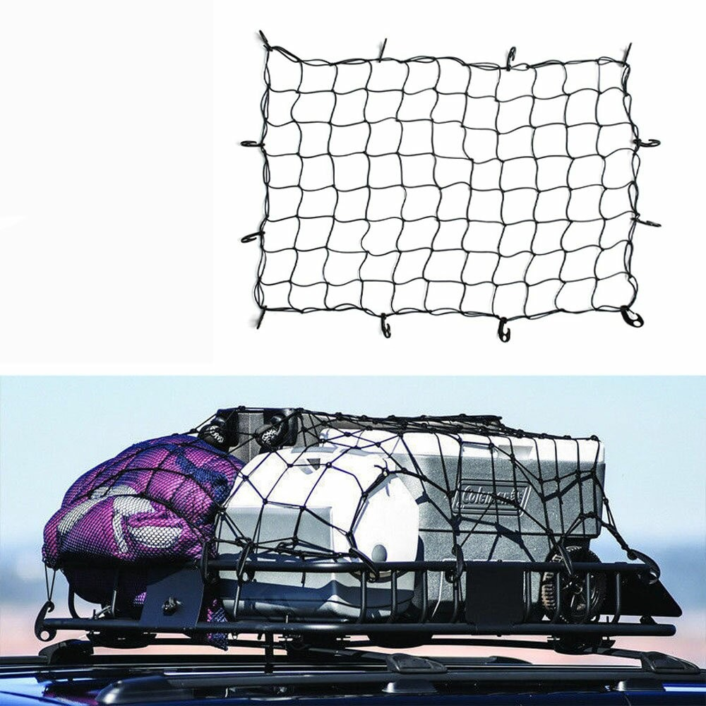 Elastic Cargo Net 14 Hooks Travel Secure Car Motorcycle Camping Mesh 48