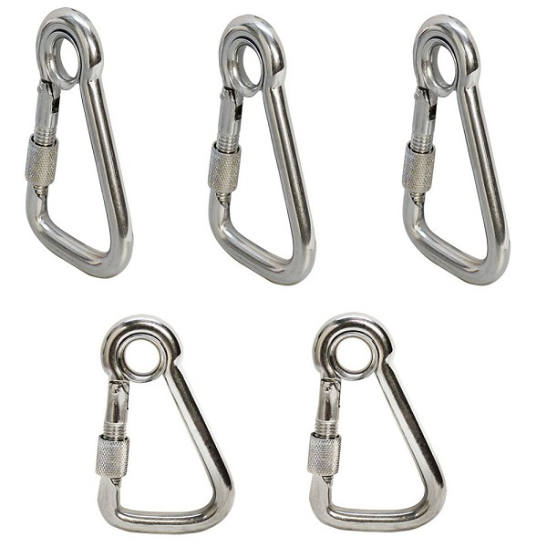 "5 PC Stainless Steel 1/4"" Marine Carabiner Spring Snap Hook Eyelet Screw Nut"