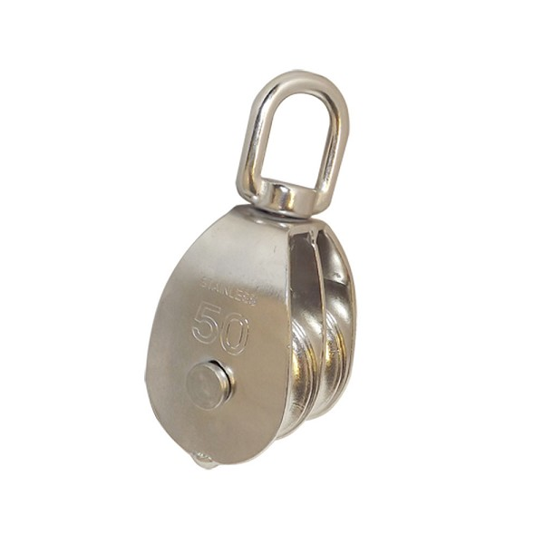 "2"" 50mm Double Pulley Block with Swivel Eye Stainless Steel Marine Rigging"