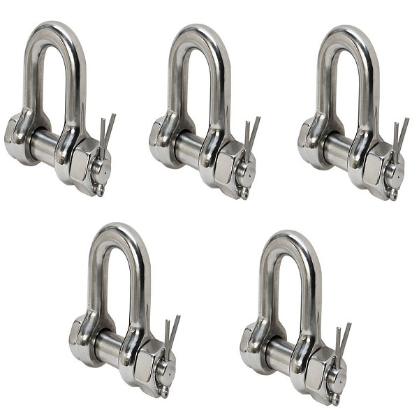 5 PC Stainless Steel 5/16'' Marine Bolt Screw Pin Chain Shackle D Anchor 1300 LB