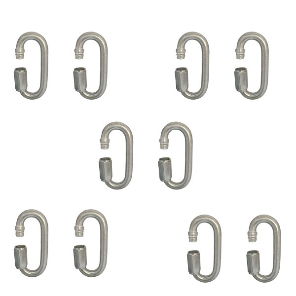 "Set Of 10 PC Boat Marine Stainless Steel Quick Link 3/8"" Locking Carabiners Quickdraws WLL 1,600 LBS Capacity"