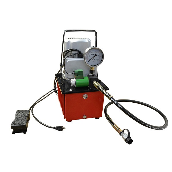 Electric Air Pumper Single Acting Hydraulic Pump Solenoid Valve 8L Oil Power Foot Pedal Pack 10,000 PSI