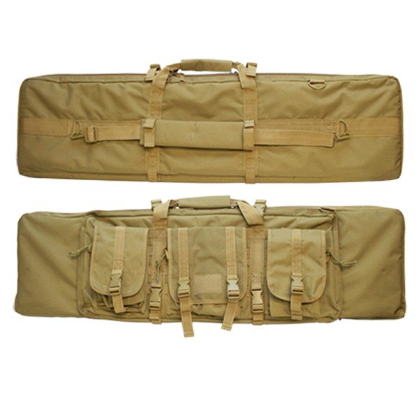 "Molle 42"" Military Style Rifle Padded Case Sniper 3 Detachable Pouch Tan Coyote"